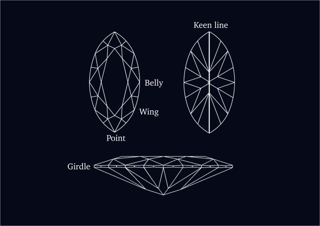 Order jewellery of a Marquise cut
