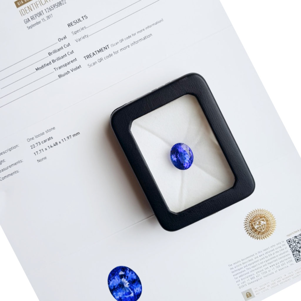 The certificate of authenticity contains detailed information about the piece (style, measurements, material, grading information)