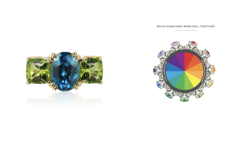 Combining stones with each other in jewellery